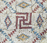 Mosaic swastika in excavated Byzantine church in Shavei Tzion,Israel; Etan J. Tal on Wikipedia, CC 3.0
