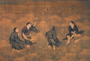 Four Immortals Saluting Longevity,Early Ming Dynasty (1368–1644) Public Domain, Source Shang Xi, Wikipedia Commons