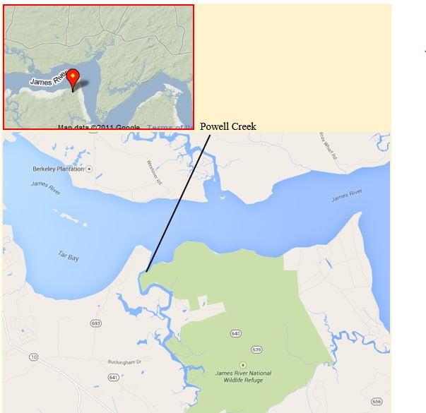Map of Powell Creek, via Glenda Taylor CC2.0