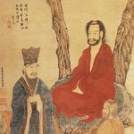 Confucius Lao-tzu and Buddhist Arhat (三教) Hanging scroll, ink and color on paper. Size 115.7 x 55.8 cm (height x width). Painting is located in the Palace Museum, Beijing. Public Domain