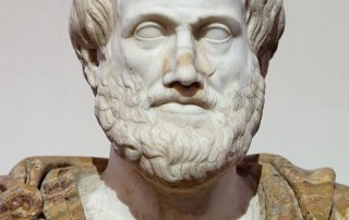 Bust of Aristotle. Marble, Roman copy after a Greek bronze original by Lysippos from 330 BC; the alabaster mantle is a modern addition. Via Wikimedia. Public Domain